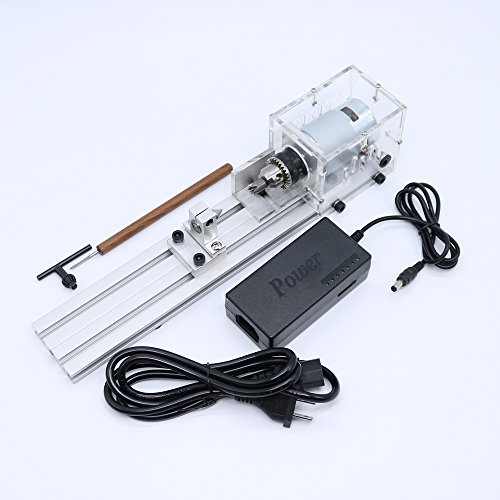 Mini Lathe Beads Machine Woodworking DIY Lathe Standard Set with Power DC 24V by BEESS