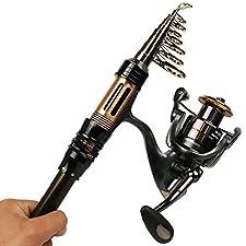 Sougayilang Mini Spinning Fishing Rod and Reel Combos Portable Pocket Telescopic Fishing Pole Reel for Travel Saltwater Freshwater Fishing