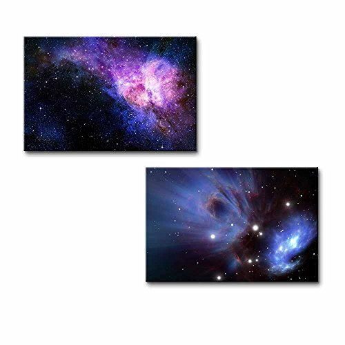 Starry Deep Outer Space Nebual and Galaxy Wall Decor ation x 2 Panels