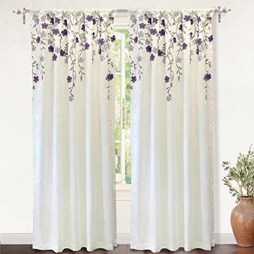 "DriftAway Isabella Faux Silk Embroidered Window Curtain, Embroidered Crafted Flower, Lined with Thermal Fabric, Single Panel, One panel, 50""x84"" (Ivory/Purple) (Isabella Fabric)"