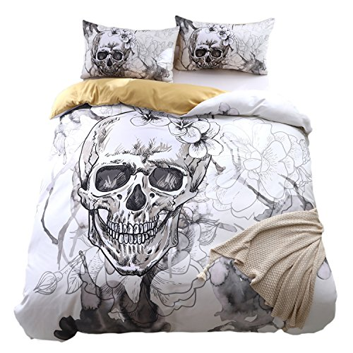 KTLRR Skull Bedding Set,Polyester Fully Modern Flower Skull Gray and Black Duvet Cover Set, Queen Size Decorative 3 Pieces Bedding with 2 Pillow Shams,No Comforter (Skull B, Queen 3pcs)
