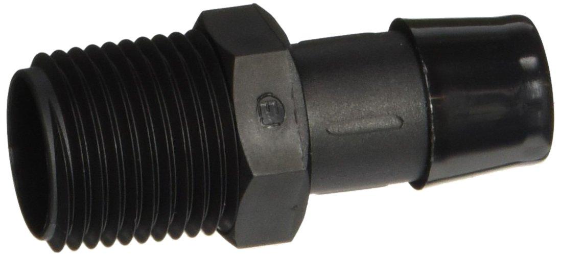 Eldon James A8-10BN Black Nylon Adapter Fitting, 1/2-14 NPT to 5/8'' Hose Barb (Pack of 10)