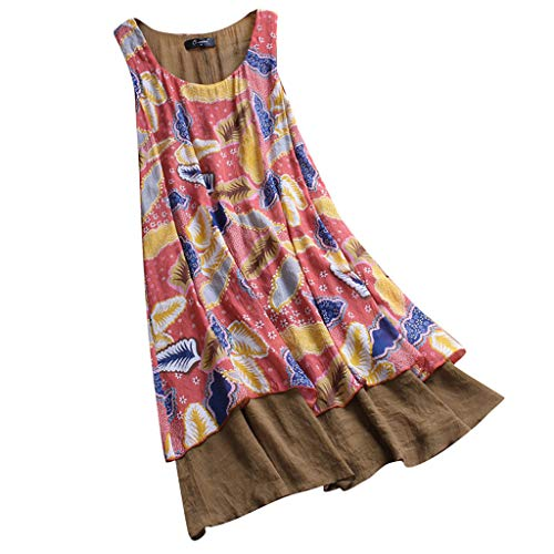 Women's Vintage Summer Dress Floral Print Patchwork Sleeveless Casual Long Sundress Beach Party Boho Maxi Dresses