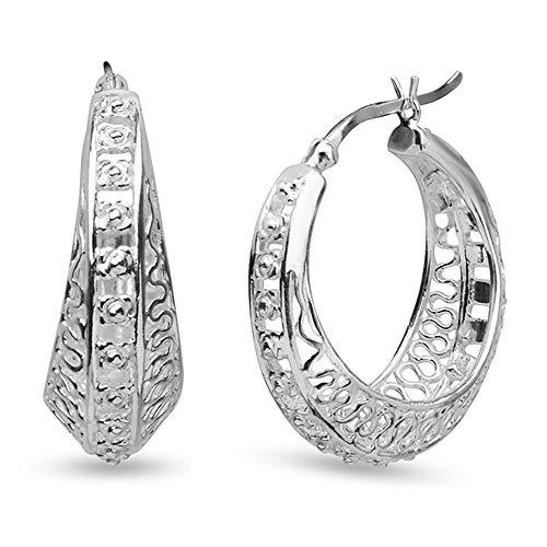 LeCalla Sterling Silver Jewelry Filigree Hoop Earrings for Women