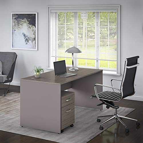 Bush Furniture Commerce 60W Office Desk with Mobile File Cabinet in Cocoa and Pewter by Bush Furniture (Image #1)