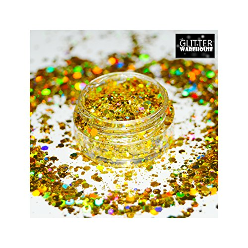 GlitterWarehouse Sunlight Gold Chunky Glitter Loose Holographic Solvent Resistant Cosmetic Grade Glitter (20g Jar) by GlitterWarehouse