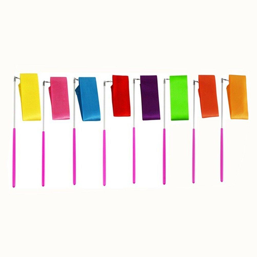 MUROAD 8 pezzi 2M lunghezza Palestra Nastro per ginnastica ritmica, Danza nastri di Ginnastica Ritmica Streamer Baton Twirling Rod seta Attrezzi per Bambini