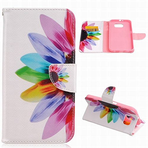 For Samsung Galaxy S7 Plus Case, LEMORRY Personality Petal Flower Durable Soft TPU Cover + PU Leather Flip Wallet Magnetic Strap Bumper Skin Cover Protection ()