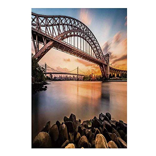 - Landscape Stylish Backdrop,Sunset Evening View Picture Hell Gate and Triboro Bridge Astoria Queens America for Photography,39