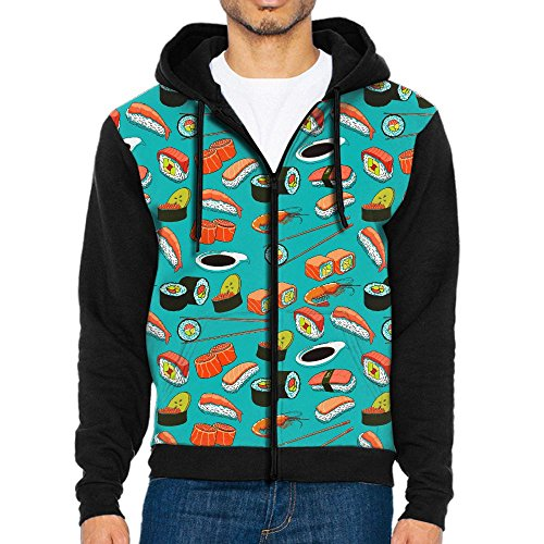 (Men's Seafood Sushi Prawn Wasabi Japanese Fashion Casual Athletic Long Sleeve Crew Sweatshirt Full-Zip Hoodie Pockets)