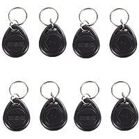 UHPPOTE EM4100 EM4102 125KHz RFID EM-ID Card Tag Token Key Chain Keyfob Read Only Color Black Pack of 50