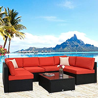 Peach Tree 7 PCs Outdoor Patio PE Rattan Wicker Sofa Sectional Furniture Set All-Weather with 2 Pillows and Tea Table