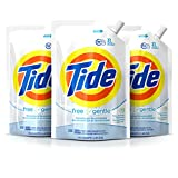 Tide Liquid Laundry Detergent Smart Pouch, Free & Gentle HE, Pack of three 48 oz. pouches, 93 loads