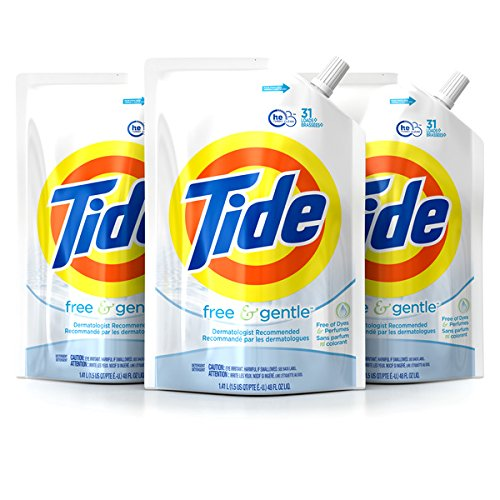 Dye Pouch - Tide Liquid Laundry Detergent Smart Pouch, Free & Gentle HE, Pack of three 48 oz. pouches, 93 loads
