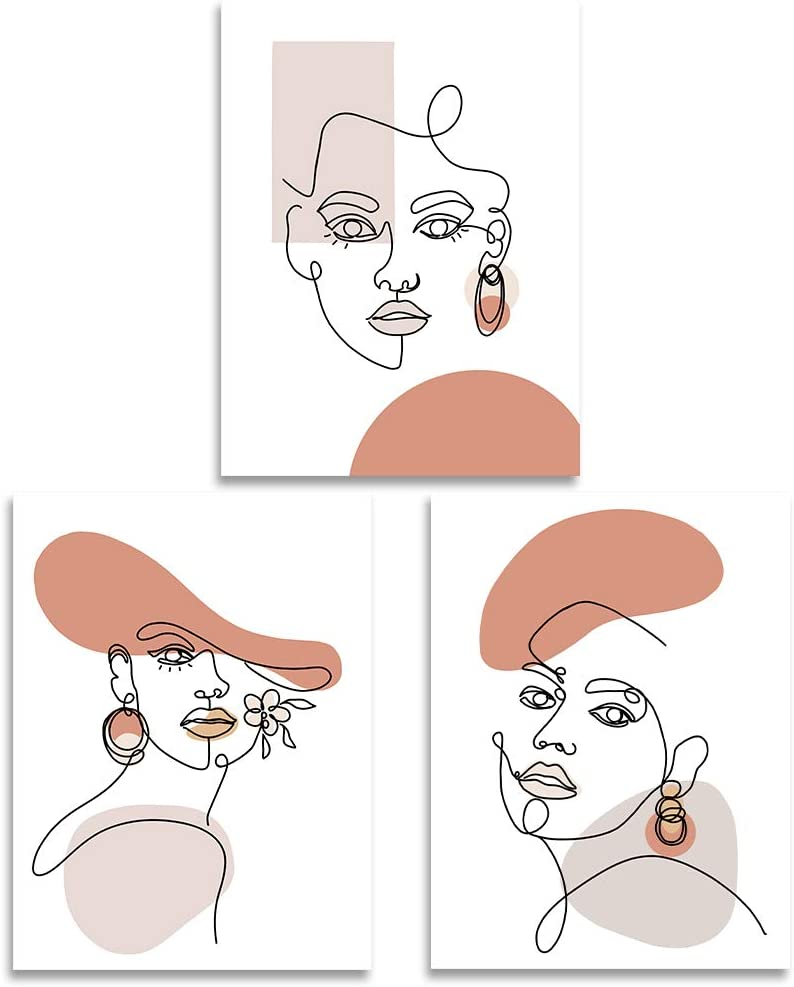 Line Art Wall Decor Framed Minimalist Wall Art Canvas of Women Fashion And Beauty 12x16 Inch Ready to Hang Line Drawing Wall Art with Free Adhesive Hooks Modern 3 Piece Wall Art For Bedroom