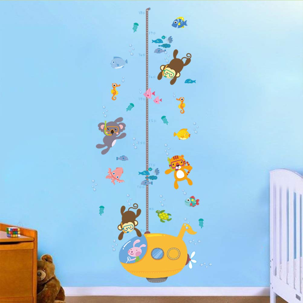 Underwater Submarine Animal Diver Cute Monkey Tiger Height Sticker Growth Height Chart Measuring Removable Wall Decal Children Kids Baby Home Room Nursery DIY Art Wall Mural