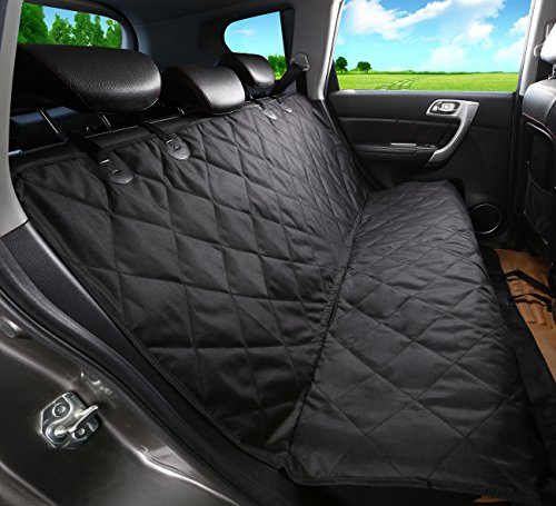 ALFHEIM Dog Back Seat Cover - Nonslip Rubber Backing with Anchors for Secure Fit - Universal Design for All Cars, Trucks & SUVs (Black)
