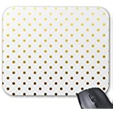 Poem Magine White Gold Polka Dot Rectangle Non-Skip Rubber Mouse Pad 220mm x 180mm x 3mm