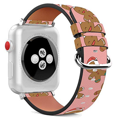Compatible with Apple Watch - 38mm Leather Wristband Bracelet with Stainless Steel Clasp and Adapters - Gingerbread Man Christmas