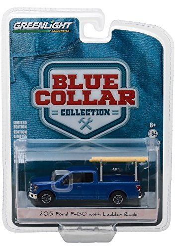 Greenlight 2015 Ford F-150 Blue Pickup Truck with Ladder Rack Blue Collar Collection Series 3 1/64 Diecast Model Car 35080 E