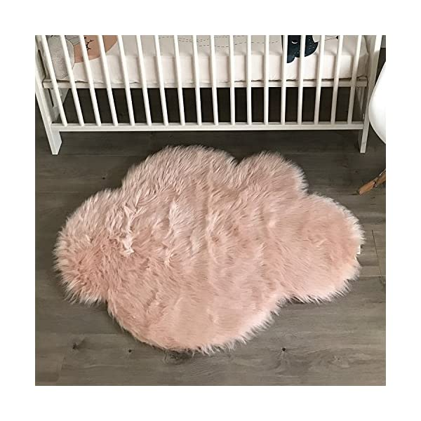 Machine Washable Faux Sheepskin Blush Cloud Area Rug 32″ x 44″ – Soft and silky – Perfect for baby's room, nursery, playroom (2′ 7″ x 3′ 7″) – Blush Cloud
