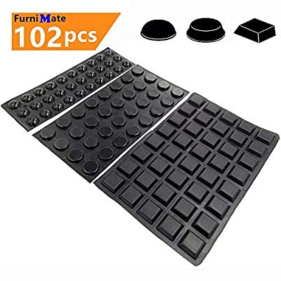 Black Bumpers Pads 102PCS Self Adhesive Rubber Feet Bumpers for Cabinets Drawer Door Soft Close Pads Picture Frame Sound Dampening