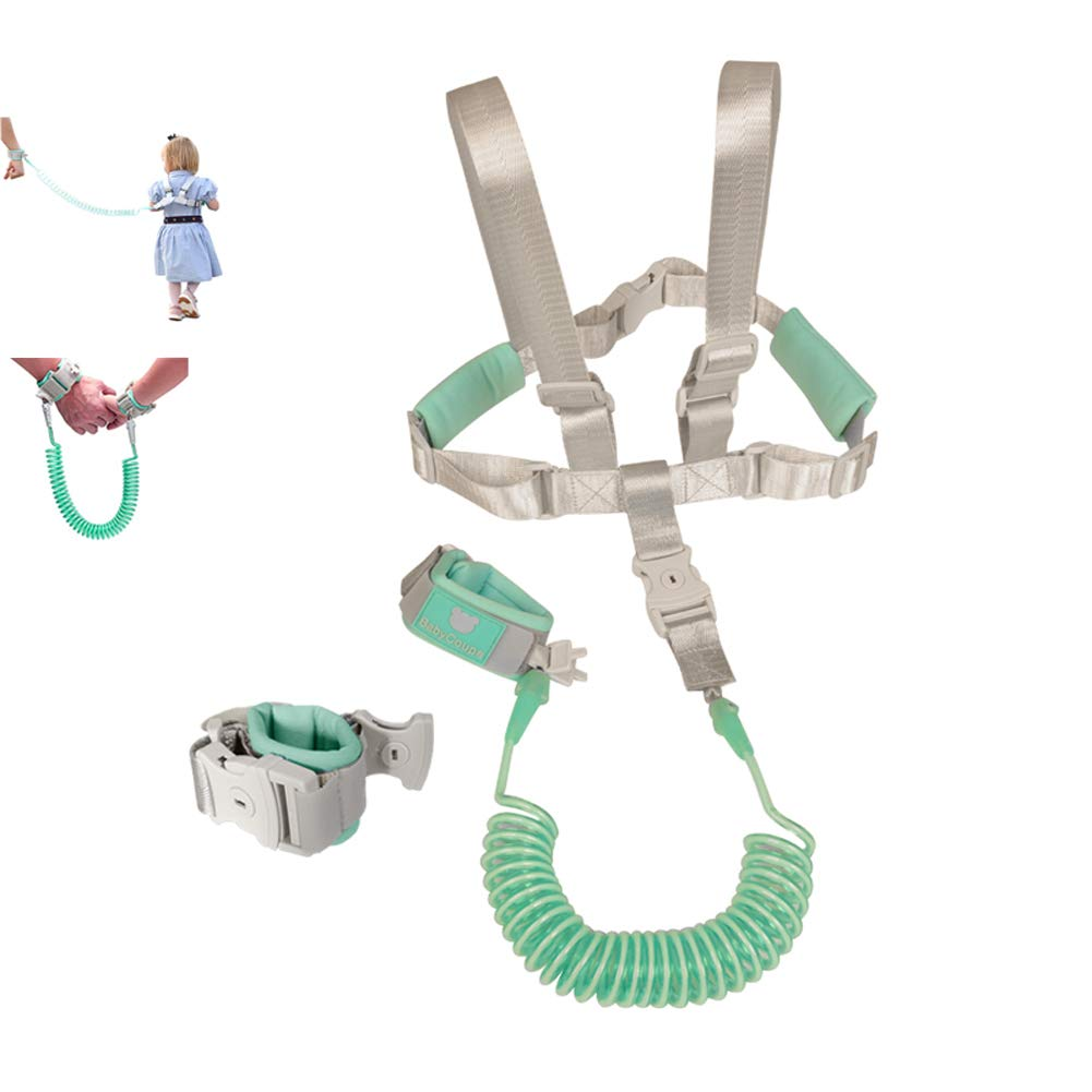 2 in 1 Baby Leash Toddler Anti Lost Wrist Link and Vest Harness with Child Lock (Mint Green, 6.5ft Length) 51aikeDilHL