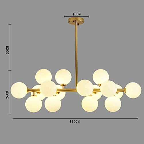 16 Lights Modo Glass Ball Chandeliers Light Gold Finish Fixture Light, Nordic Magic Beans Molecular Ceiling Light for Living Dining Room Study Bedroom