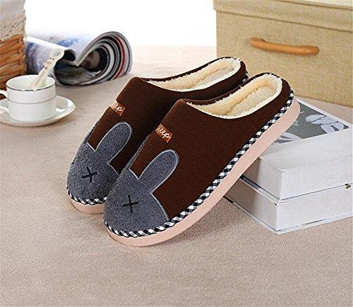 Chaussons Minetom Café Peluche Pantoufles Bande Style Couple Hiver Slippers Dessinée Unisexe Confortables Doux UUw8f