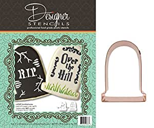 Tombstone Cookie Stencil Set and Heirloom Copper Cookie Cutter by Designer Stencils