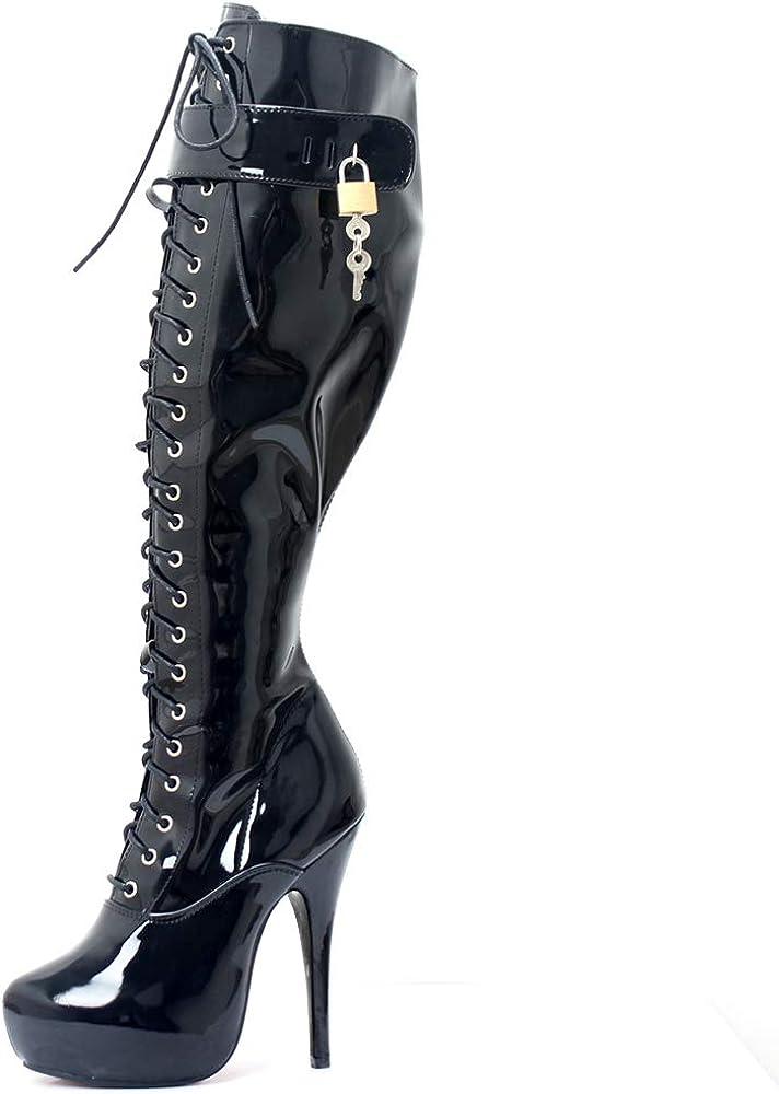 black shiny platform boots