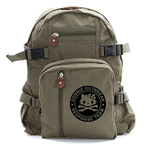 Zombie Outbreak Response Team Hello Kitty Backpack Bag, Olive & Black (small)