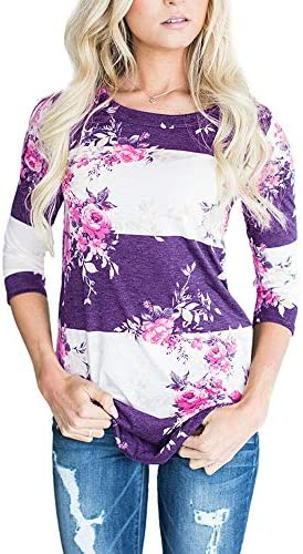 CEASIKERY WOMEN'S BLOUSE 3/4 SLEEVE FLORAL PRINT T-SHIRT COMFY CASUAL TOPS FOR WOMEN 003