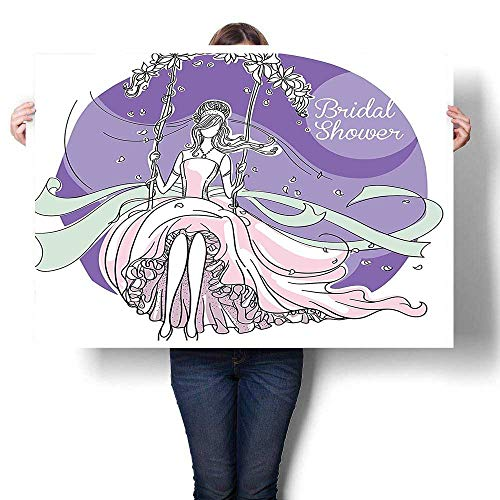 Canvas Wall Art for Bedroom Home Decorations,Decorations Bride Party Themed Image with Swings Florals Image Purple and Light Pink canvas,for Home Decoration No Frame,32
