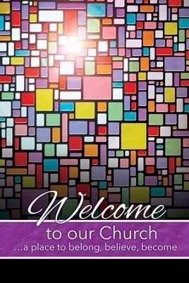 Church Welcome Folder - Welcome To Our Church - Stained Glass - (Package of 12)