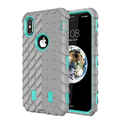 Dual Layer TPU+PC Heavy Duty Protective Durable Rugged Anti-Slip Grip [Shockproof Bumper] Cover for Apple iPhone 10 2017(Green+Grey) ()