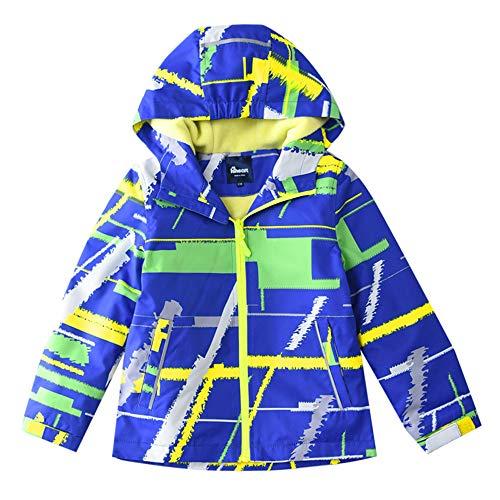 (Hiheart Boys Fleece Lined Hooded Jackets Waterproof Outdoor Windbreaker Blue 4/5)