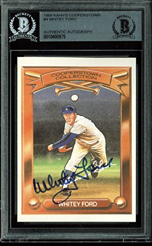 Yankees Whitey Ford Signed 1989 Kahn's Cooperstown #4 Auto Card BAS Slabbed ()