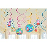 Peppa Pig Party Foil Hanging Swirl Decorations/Spiral Ornaments (12 PCS)- Party Supply, Party Decorations