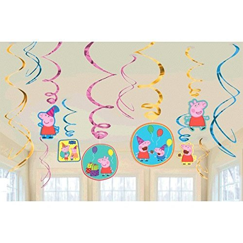 Peppa Pig Party Foil Hanging Swirl Decorations / Spiral Ornaments (12 PCS)- Party Supply, Party Decorations
