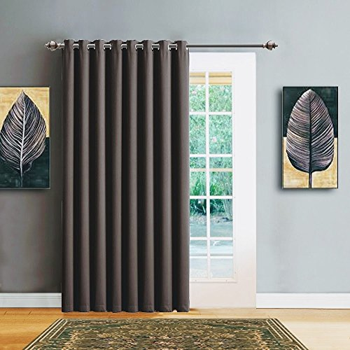 Warm Home Designs 1 Panel of Charcoal Blackout Patio Door Curtains. Each Extra Wide Insulated Thermal Sliding Door or Room Divider Curtain Is 102