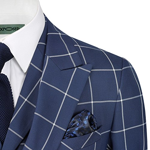 Double Tailored Fit Navy Classic White Window Piece On Retro Blue Check Mens Breasted Pane 3 Suit E6qqB