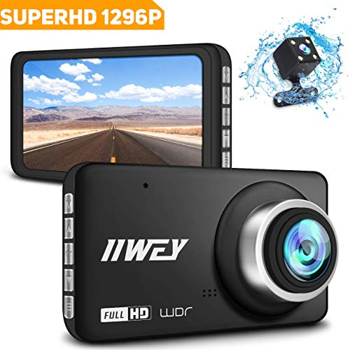"""Dual Dash Cam FHD 1296P & HD 720P Front and Rear Car Camera, 170 °Wide Angle Dash Camera for Cars with Night Vision 4"""" IPS Screen Dashboard Camera, G-Sensor Loop Recording Parking Monitor WDR (Black)"""