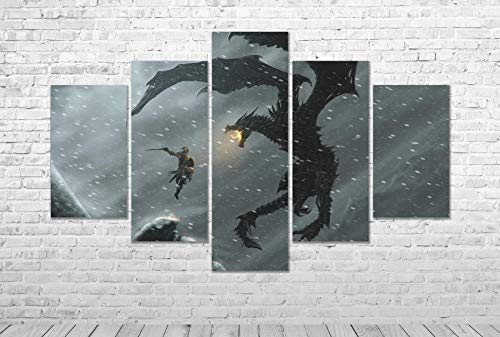 Skyrim Vs Elder Scrolls Gaming CANVAS PRINT 5 Panel Wall Art