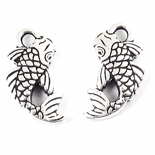 (TierraCast Pewter Charms-ANTIQUE SILVER KOI FISH (2) )