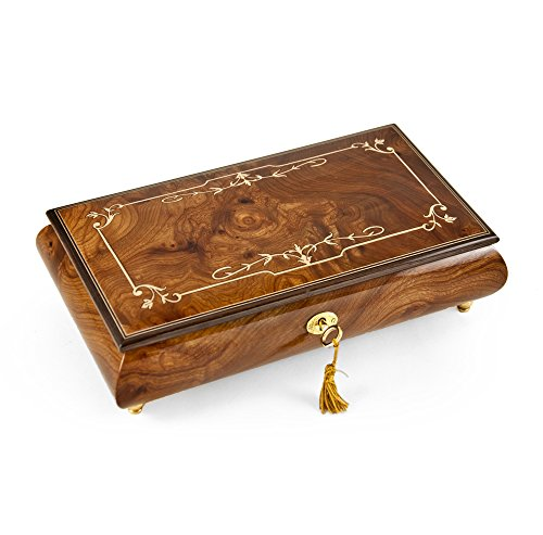Elegant 22 Note Classic Style Ornament Border Inlay Musical Jewelry Box - All I Ask of You by MusicBoxAttic