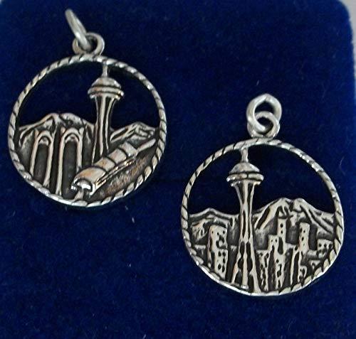 Charm - Sterling Silver - Jewelry - Pendant - Seattle Washington Skyline