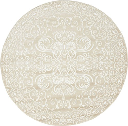 Unique Loom Rushmore Collection Traditional White Tone-on-Tone Snow White Round Rug (5' 0 x 5' 0) ()