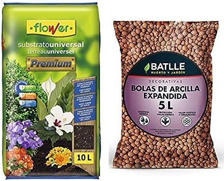 Flower Universal Premium Substrato, 10L, Marrón, 29x6x46 cm + Semillas Batlle Sustratos Bolas Arcilla Expandida 5l