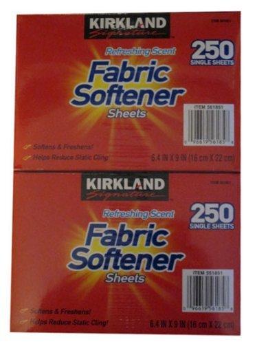 - Kirkland Signature Premium Fabric Softener Sheets, Refreshing Scent 250 CT (Pack of 2)